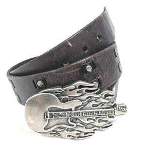 Levis Leather Belt Guitar Belt Buckle Mens M 34 36